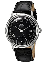 Men's '2nd Gen. Bambino Ver. 2' Japanese Automatic Stainless Steel and Leather Dress Watch, Color:Black (Model: FAC0000AB0)