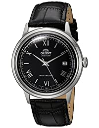 Orient Men's '2nd Gen. Bambino Ver. 2' Japanese Automatic Stainless Steel and Leather Dress Watch, Color:Black (Model: FAC0000AB0)