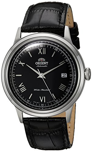 (Orient Men's 2nd Gen. Bambino Ver. 2 Stainless Steel Japanese-Automatic Watch with Leather Strap, Black, 21 (Model:)