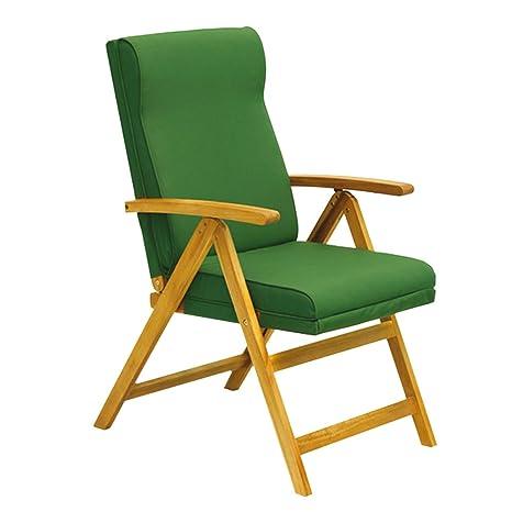 Poltrona sdraio pieghevole legno acacia 5 posizioni imbottita verde ...