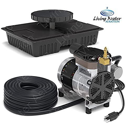 AirPro Pond Aerator Kit by Living Water - Rocking Piston Pond Aeration System for Up to 1 Acre - Minimize Odor, Prevent Fish Kill - Includes 1/4 HP Compressor, 100' Weighted Tubing, Membrane - 0.25 Hp Water