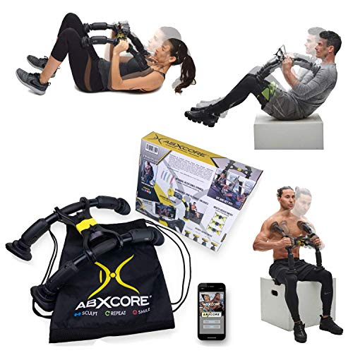 AbXcore for Abs Workout - Ab Machine Exercise Equipment for Home Gym. Resistance Abdominal Muscle Toner, Adjustable Ab Trainer & Portable Ab Workout Equipment. Core Workout Abs Machine with Bag + App (Best Workout Trainer App)