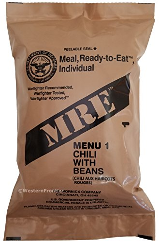 Mre  Meals Ready To Eat  Genuine Us Military Surplus With Menu Selections  01 Chili W  Beans