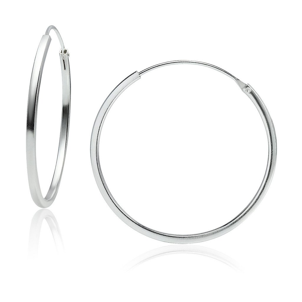 All Sizes Sterling Silver 1.5mm x 30mm Square Tube Endless Hoop Earrings Round Lightweight Unisex
