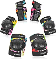 Kids Protective Gear Set, IDMAX Child Knee Pads Elbow Pads Wrist Guard 6 in 1 with Adjustable Strap for Roller