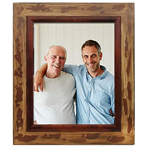 icheesday 8 x 10 inch Aging Rustic Handmade Wood Picture Frames with Kickstand,Multi Size Vintage Photo Frame Wall Hanging (8 x 10inch)