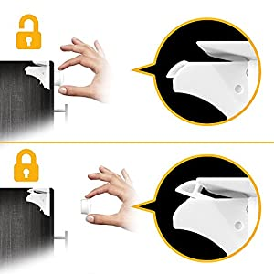 ELLA'S MAGNETIC CABINET LOCKS - 8 Pack | No Tools Needed - 3M Adhesive | Amazing for Baby Proofing Kitchen & Child Locks | Quality Design | Child Safety | Baby Locks | White