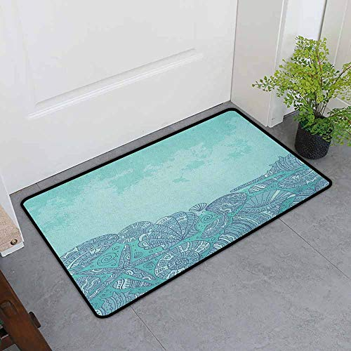 ONECUTE Funny Doormat,Nautical Marine Beauty Shell with Seahorse Starfish Oysters Ocean Sea Tropical Image,for Outdoor and Indoor,24