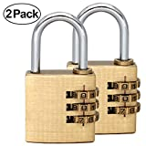 MIONI Solid Brass 2 PCS Combination Lock 3 Copper Digit Padlock for Indoor and Outdoor Rustless Die-Cast