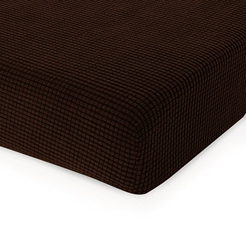 (CHUN YI Jacquard Cushion Covers High Stretch Chair Slipcover Furniture Protector for Sofa Settee and Couch Seat Coat(Loveseat, Chocolate))
