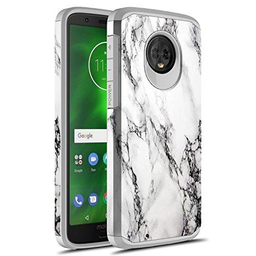Moto G6 Case, Rosebono Hybrid Dual Layer Shockproof Hard Cover Graphic Fashion Cute Colorful Silicone Skin Case for Motorola Moto G 6th Generation (White Marble)