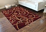 Modern Area Rug 8 Ft. X 10 Ft. Burgundy Design # G 23