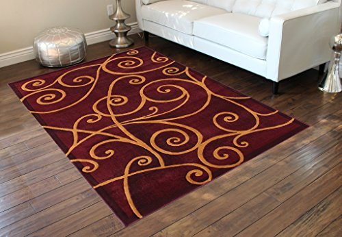 Modern Area Rug 8 Ft. X 10 Ft. Burgundy Design # G 23 by Gallery