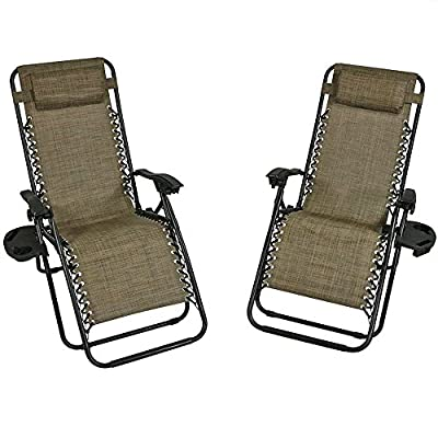 Sunnydaze Outdoor Zero Gravity Lounge Chair with Pillow and Cup Holder, Folding Patio Lawn Recliner, Set of 2, Brown - COMFORTABLE SIZE: 26 inches wide x 69 inches long x 34 inches deep x 42 inches tall; each chair weighs 15 pounds; Seat height: 14.5 inches; Seat Width: 20 inches; Arm Height: 25 inches; Weight capacity: 250 pounds DURABLE CONSTRUCTION: Powder-coated steel tube framing and all-weather, fade-resistant Textilene sling seat and seat back material COMES FULLY ASSEMBLED: Includes 1 cup holder and 1 removable headrest pillow so you can easily relax whenever you use the chair - patio-furniture, patio-chairs, patio - 51C4a 8MJPL. SS400  -