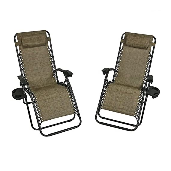 Sunnydaze Outdoor Zero Gravity Lounge Chair with Pillow and Cup Holder, Folding Patio Lawn Recliner, Set of 2, Brown - COMFORTABLE SIZE: Anti gravity beach lounger is 26 inches wide x 69 inches long x 34 inches deep x 42 inches tall; Each chair weighs 15 pounds; Seat height: 14.5 inches; Seat width: 22 inches; Arm height: 27 inches; Weight capacity: 250 pounds DURABLE CONSTRUCTION: Collapsible chair is made of powder-coated steel tube framing and all-weather, fade-resistant Textilene sling seat and seat back material COMES FULLY ASSEMBLED: Camping chair pack includes 2 cup holder and 2 removable headrest pillow so you can easily relax wherever you go; Can be enjoyed on the deck, yard, porch, or by the pool - patio-furniture, patio-chairs, patio - 51C4a 8MJPL. SS570  -