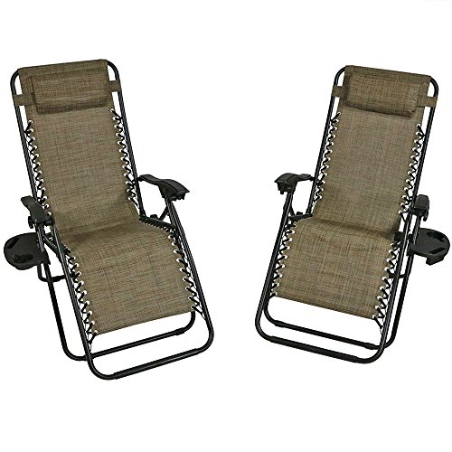 Sunnydaze Outdoor Zero Gravity Lounge Chair with Pillow and Cup Holder, Folding Patio Lawn Recliner, Set of 2, Brown