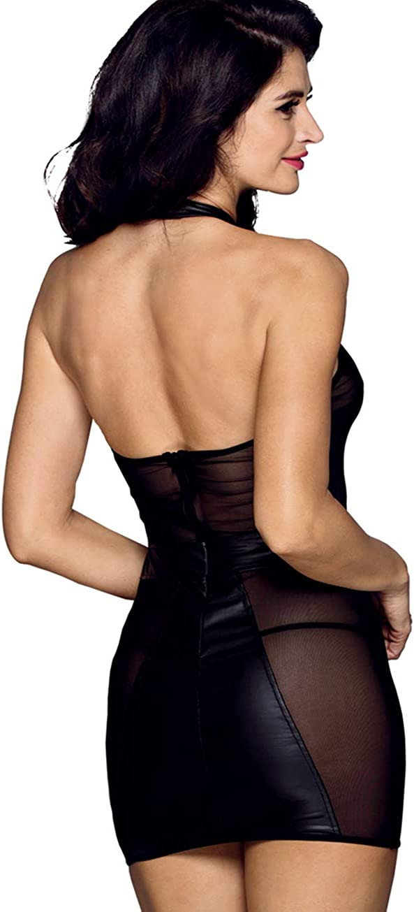 Mufeng Women Mesh Sheer Bodycon Mini Dress Half Sleeve Babydoll Lingerie Clubwear