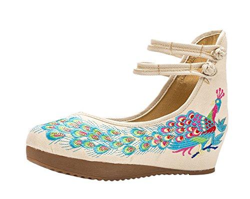 ezShe - Zapatos bordados con diseño de fénix tradicional chino Beige - beige