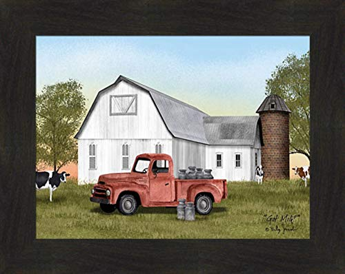 Home Cabin Décor 'Got Milk?' by Billy Jacobs 16x20 Cows Old Truck Milk Cans Jugs Farm Barn Silo Summer Seasons Framed Art Print Picture