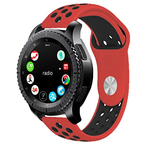 Gear S3 Band, KADES Soft Silicone Band Replacement Strap for Gear S3 Frontier and Gear s3 Classic Smart Watch (Large, Red/Black)