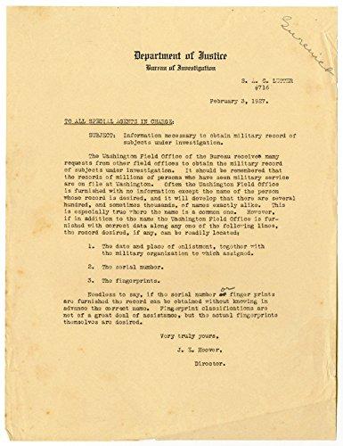 J. Edgar Hoover - First FBI Director - Unsigned Justice Department Letter