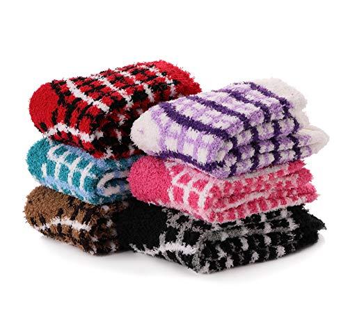 Womens Girls Fuzzy Socks Cabin Soft Fluffy Warm Cute Cozy Winter Slipper Christmas Socks 6 Pairs (Square Pattern)