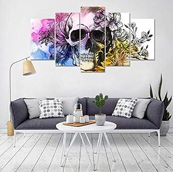 Impresiones en lienzo HD 5 paneles Halloween acuarela calavera y flor arte de la pared pintura retrato imagen abstracta para sala de estar oficina decoración del hogar 200x100 cm