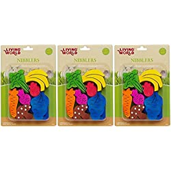 Living World LW Nibblers Wood Fruit/Veggie Mix Small Pet Chew Toy [Set of 3]