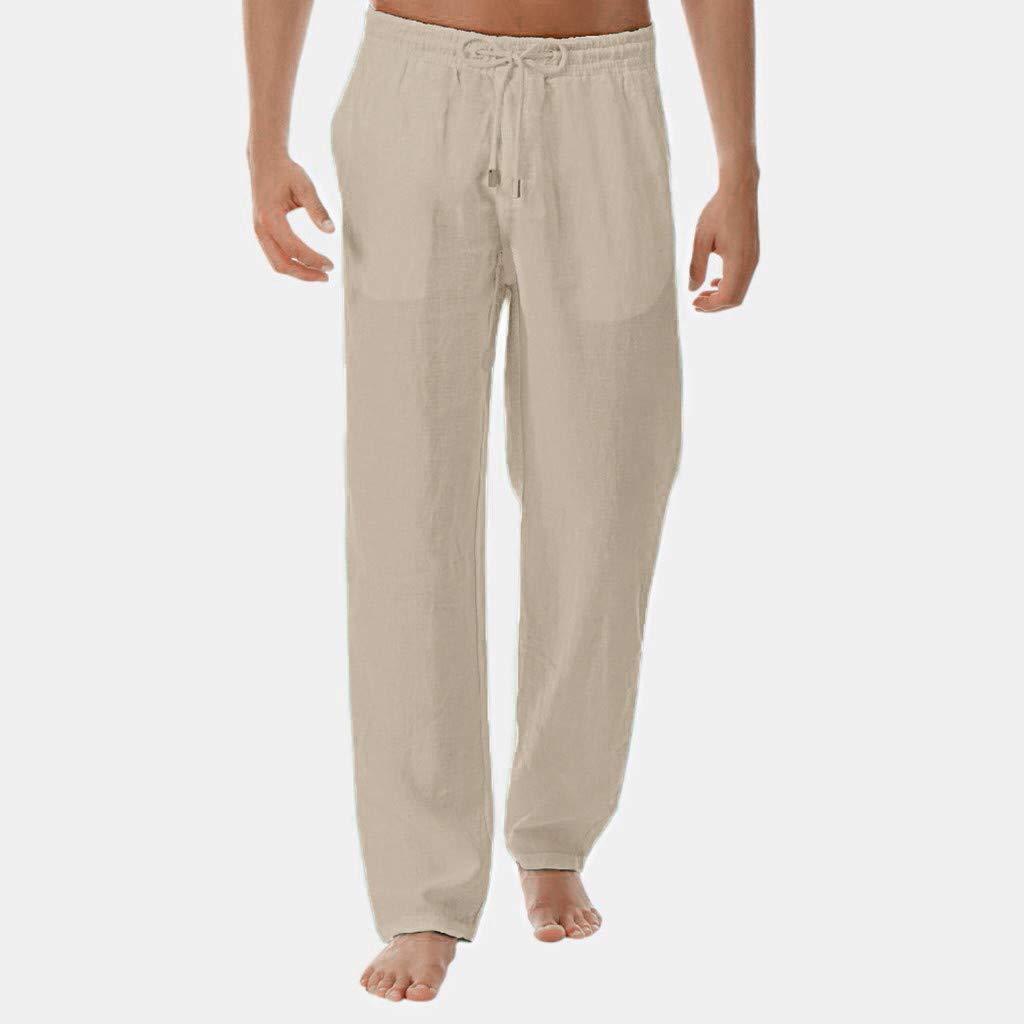 Mymyguoe Pantalones de Lino y algodón Puro de Verano para Hombres ...