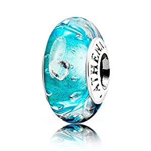 ATHENAIE Murano Glass 925 Sterling Silver Effervescence Clear Heart CZ Charms for Bracelet Blue