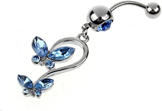 Ikevan 2017 Hot Selling 1PC Rhinestone Butterfly Dangle Button Belly Navel Ring Body Piercing (Blue)
