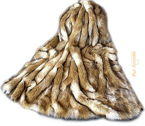 Premium Faux Fur - Brown Coyote Stripe - Wolf Skin Fur Pelt Rug - Art Rug - Sheepskin Shag - Shaggy Throw - Accent Carpet -Kids Bedroom - Play Rug - Nursery - (30''x48'') by Fur Accents