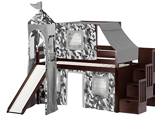 JACKPOT! Castle Low Loft Stairway Bed with Slide Gray Camo Tent and Tower, Loft Bed, Twin, Cherry