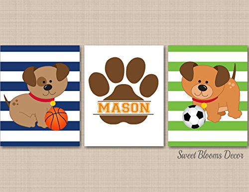 - Puppy Nursery Wall Art Puppy Sports Nursery Decor Bow Wow Buddies Dogs Kids Room Decor Dogs Kids Room Soccer Basketball Football Decor UNFRAMED 3 Prints (NOT CANVAS) C564