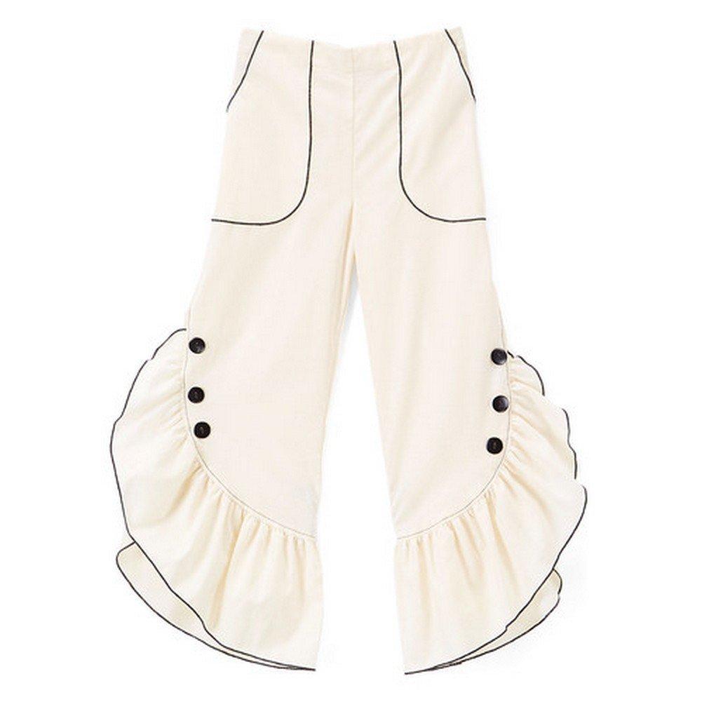 Little Girls Ivory Black Ruffled Trim Button Detail Cotton Pants 3T