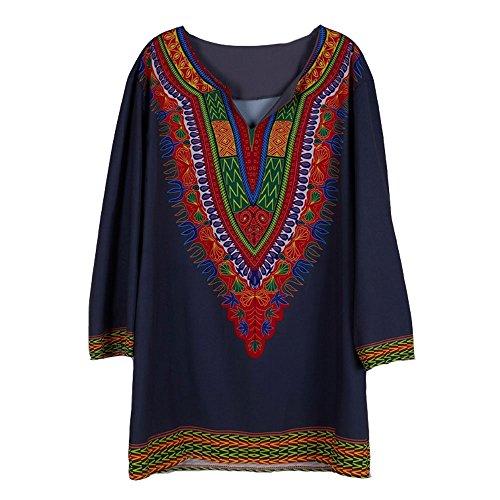 (LINGMIN Men's V Neck Printed T-Shirt Blouse Dashiki African Patterned 3/4 Sleeve)