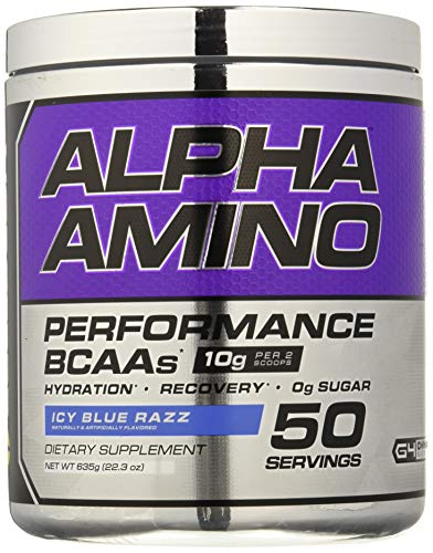 Cellucor Alpha Amino EAA andamp; BCAA Recovery Powder, Essential andamp; Branched Chain Amino Acids Supplement, ICY Blue Razz, 50 Servings