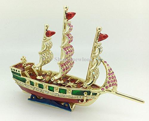 Ship Figurine Trinket Jewelry Box Sailboat Ship Boat Figurine with Sails Rhinestone Bling Collectible Hinged Trinket