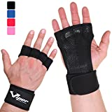 Crossfit Gloves Hand Grips - Suitable for Pull Up Bar, Gym, Weightlifting, Deadlift, Calisthenics, Gymnastics, Fitness Workout Training - Fingerless, Leather, Padded Palm Guard With Wrist Wrap Support (Black, L)