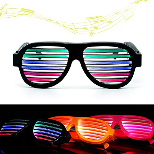 Brillante Bar Sonido USB Pink Activado de de Fiesta Intermitente Gafas Voz Control Decoración Coomir Carga LED Halloween FYTqRRzw