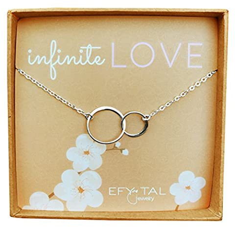 Sterling Silver 'Infinite Love' Necklace, Efy Tal Jewelry Interlocking Double Circles Anniversary - Silver Double Circle Necklace