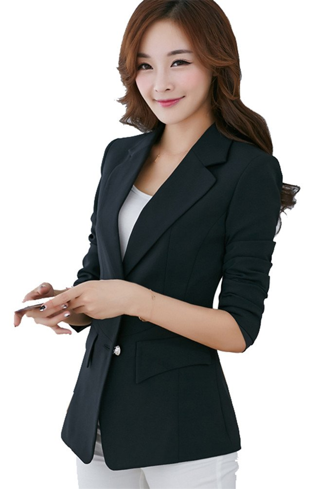 MWW Womens Boyfriend Office Blazer Single-breasted Jacket Lightweight Business Black Blazer