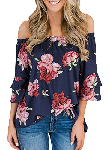 (AlavQ Women Juniors Off Shoulder Loose Tunic Blouse 3/4 Bell Sleeve Summer Casual Floral Print Shirt Tops Blue Medium)