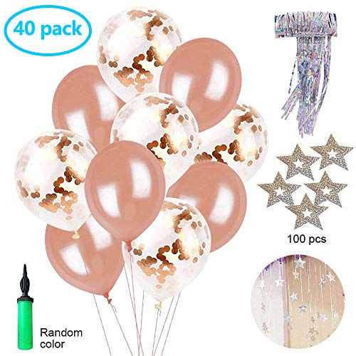 40 Pieces Rose Gold 12 inch Latex Confetti Balloons Party Decorations with Sparkling Star Garlands and Free Balloon Pump, Perfect for Bridal Shower, Birthday Party, Wedding, Engagement, Prom