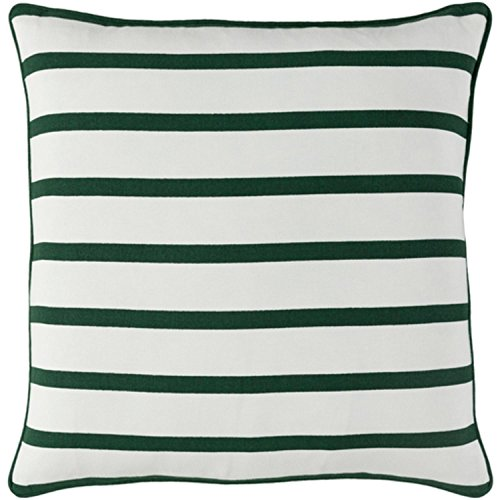 "18"" Forest Green and Snow White Candy Cane Strips Christmas Throw Pillow –Down Filler by Diva At Home"