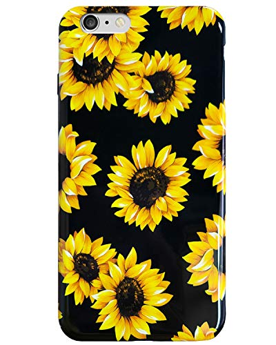 iPhone 6S Plus & iPhone 6 Plus Case Vintage Floral,J.west Cute Yellow Sunflowers Black Soft Cover for Girls/Women Flex Slim fit Design Pattern Drop Protective Case for iPhone 6+ 6s Plus 5.5 inch