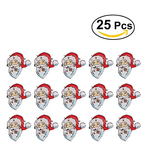 OULII Christmas Brooch Pin Badge LED Light Up Santa Claus Christmas Party Favors Pack of 25