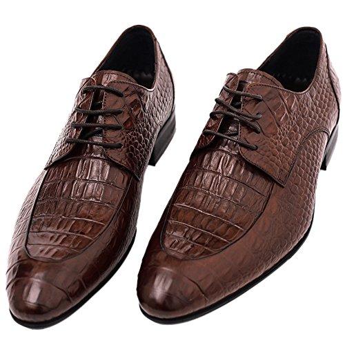 Santimon Mens Shoes Alligator Leather Derby Crocodile Print Casual Oxford Fashion Lace Up Dress Shoes tan Brown 9.5 D(M) US