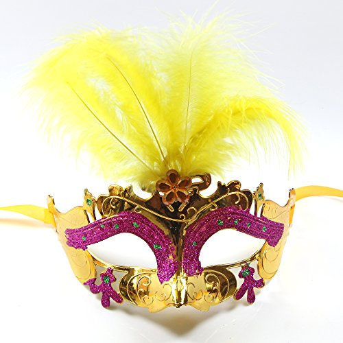 C&L Women's Halloween Feather Topped Masquerade Mask (Printable Masks For Halloween)