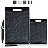 CHEF GRIDS Durable Plastic XL Marble Cutting Board, Chopping Board Thick Plastic, for Vegetable Meat or Cheese with Non-Slip Feet, Handles Juice Groove | Dishwasher Safe (2-pc Set, Black)